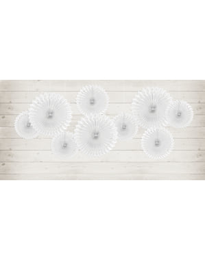 3 Abanicos de papel decorativos blancos (20-25-30 cm)