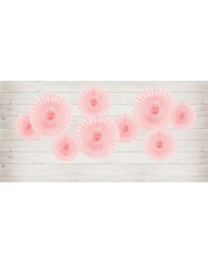 3 koristeellista paperiviuhkaa pastellinpinkkinä mitoiltaan 20 - 30cm