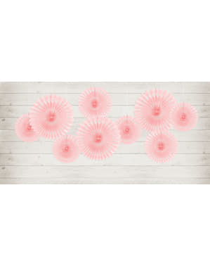 3 decorative paper fans in pastel pink (20-25-30 cm)