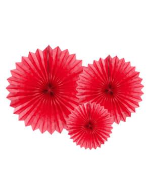 3 czerwone papierowe wachlarze dekoracyjne 20-40cm