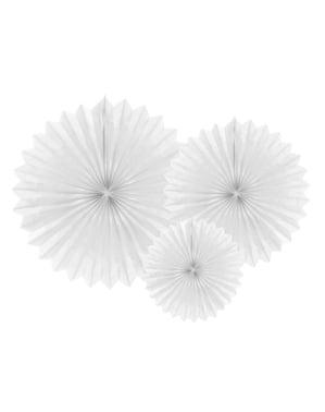 3 festoni a forma di ventaglio decorativo di carta bianchi (20-30-40 cm)