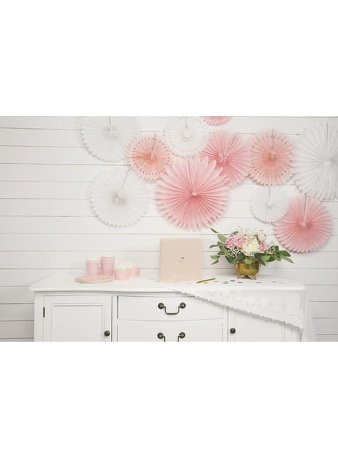 Sæt med 3 dekorative papirvifter i hvid, der måler 20 til 40 cm