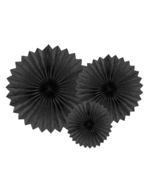 3 rosaces en papier noir de 20 a 40 cm
