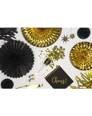 3 Abanicos de papel decorativos negros (20-30-40 cm)