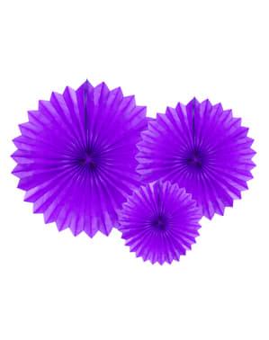 3 fioletowe papierowe wachlarze dekoracyjne 20-40cm