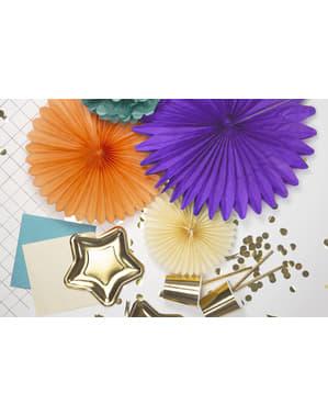 4 koristeellista paperiviuhkaa turkoosina mitoiltaan 20 - 40cm
