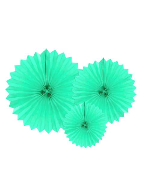 3 Abanicos de papel decorativos verde menta (20-30-40 cm)