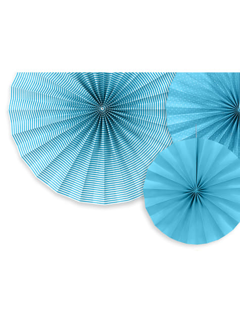 3 abanicos de papel decorativos azules