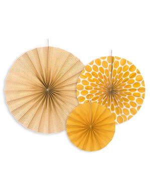 3 leques de papel decorativos laranja