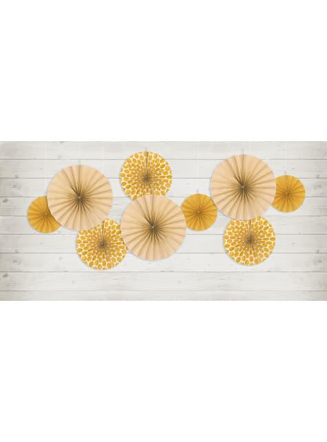 3 abanicos de papel decorativos naranjas
