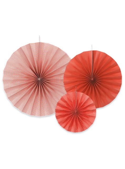 3 abanicos de papel decorativos rojos