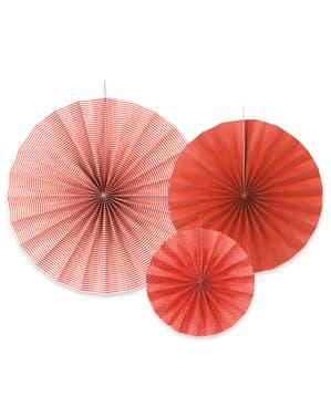 3 leques de papel decorativos vermelhos