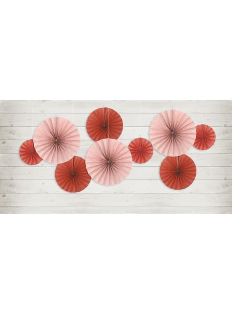 3 abanicos de papel decorativos rojos - para tus fiestas