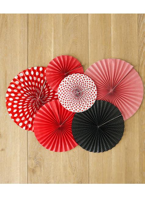 3 abanicos de papel decorativos rojos - barato
