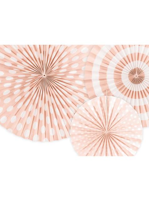 3 abanicos de papel decorativos naranjas claro
