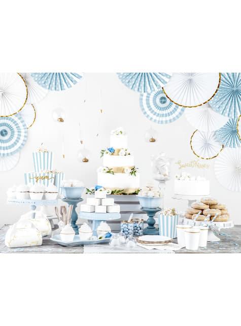 3 abanicos de papel decorativos azul grisáceos