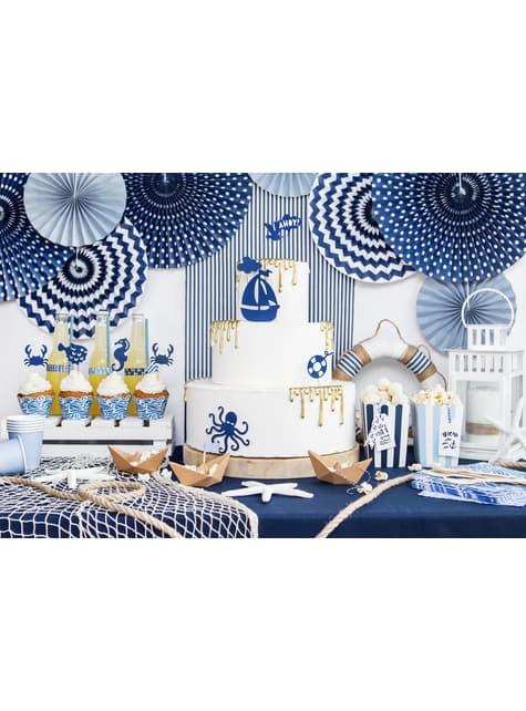3 abanicos de papel decorativos azules marino estampados