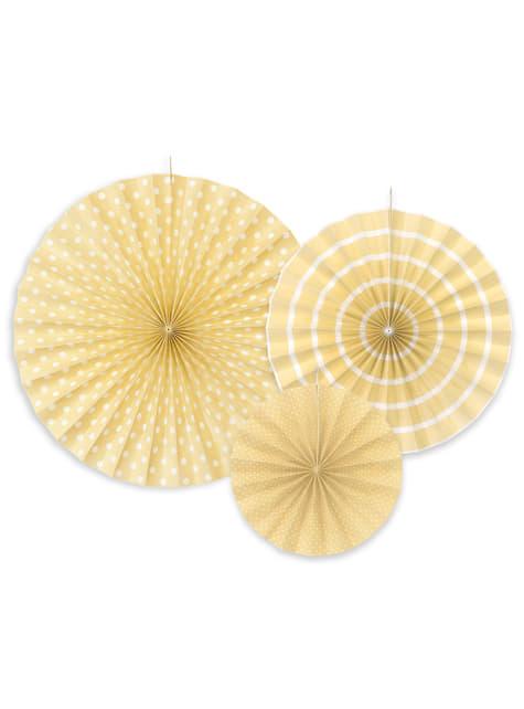 3 abanicos de papel decorativos beiges