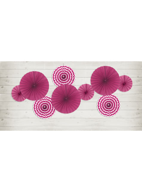 3 abanicos de papel decorativos fucsias estampado