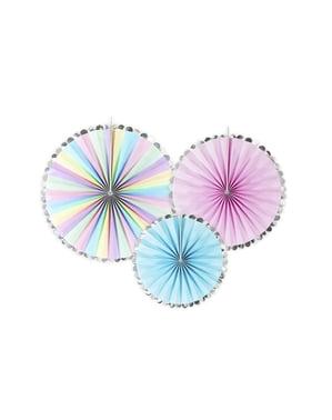 3 Abanicos de papel decorativos variados en tonos pastel y borde plateado (21-25-30 cm) - Unicorn