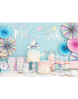 3 Leques de papel decorativos variados em tons pastel e borda pratead (21-25-30 cm) - Unicorn
