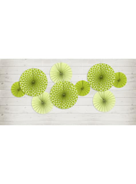 3 abanicos de papel decorativos verdes