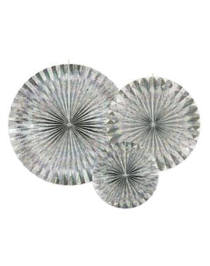 Deko-Fächer Set 3-teilig aus Papier holographisch