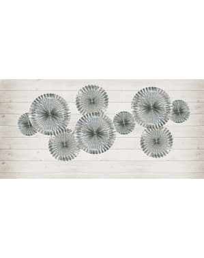3 holographic decorative paper fans