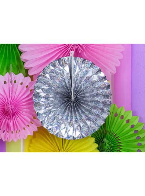 3 abanicos de papel decorativos holográficos