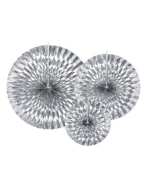 3 decorative paper fans in silver tones