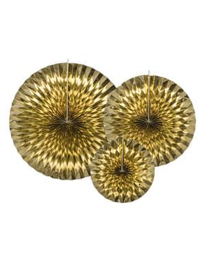 3 leques de papel decorativos dourados