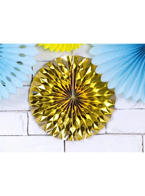 3 abanicos de papel decorativos dorados