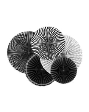 सफेद और काले पेपर पैटर्न के साथ 5 सजावटी पेपर प्रशंसकों का सेट