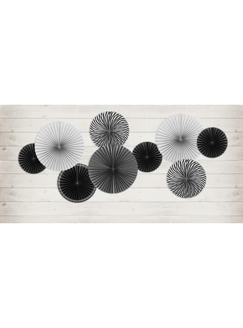 5 abanicos de papel decorativos estampados blanco y negro de papel