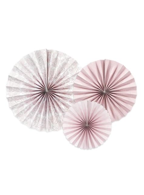 3 Abanicos de papel decorativos variados rosa pálido estampado (25-32-38 cm)
