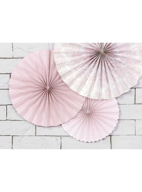 3 Abanicos de papel decorativos variados rosa pálido estampado (25-32-38 cm) - para tus fiestas