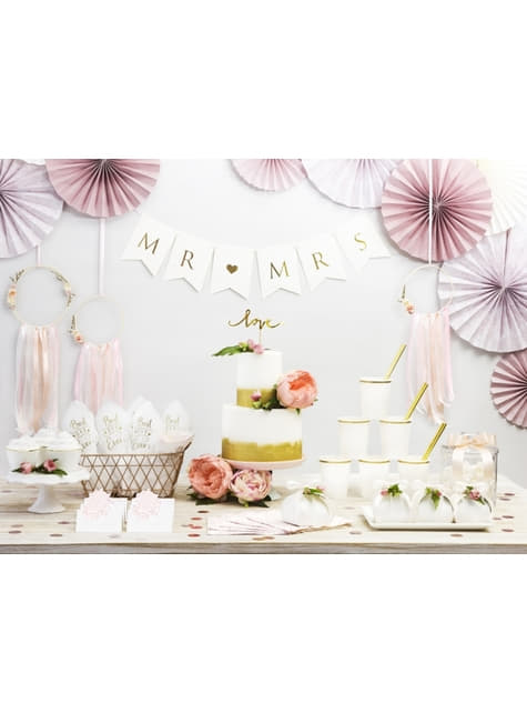 3 Abanicos de papel decorativos variados rosa pálido estampado (25-32-38 cm) - barato