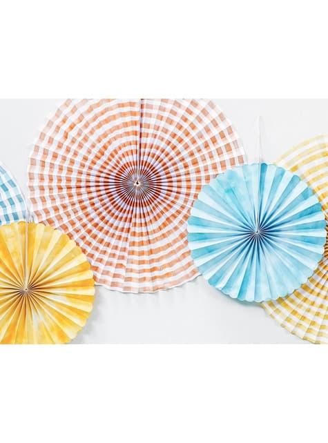 6 Abanicos de papel decorativos variados estampado de rayas (40 cm) - para tus fiestas