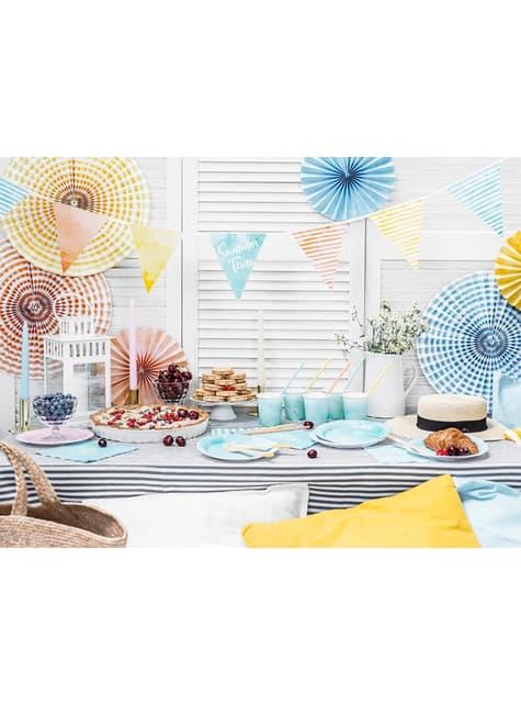 6 Abanicos de papel decorativos variados estampado de rayas (40 cm) - barato