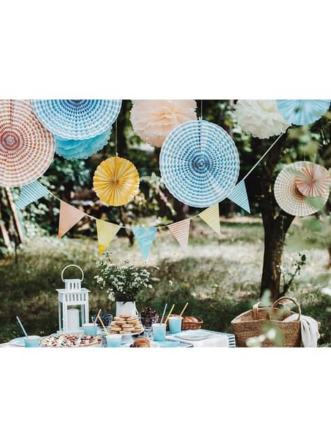 6 Abanicos de papel decorativos variados estampado de rayas (40 cm) - comprar
