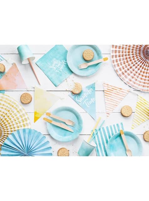 6 Abanicos de papel decorativos variados estampado de rayas (40 cm) - para niños y adultos