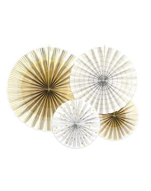 sett med 4 dekorativ papirvifte i hvit