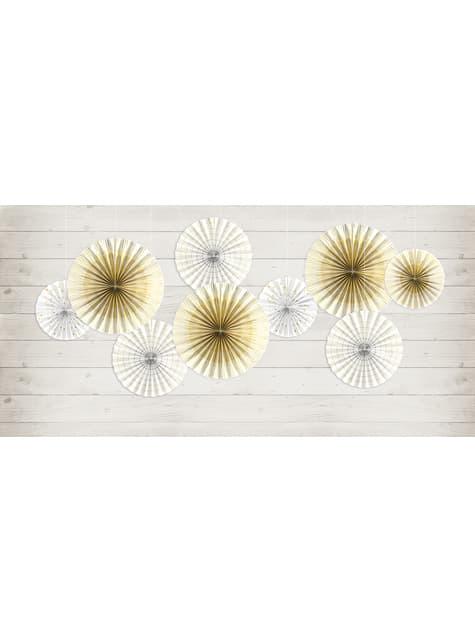 4 leques de papel decorativos brancos