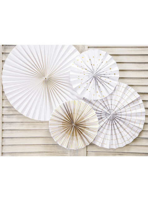 4 abanicos de papel decorativos blancos