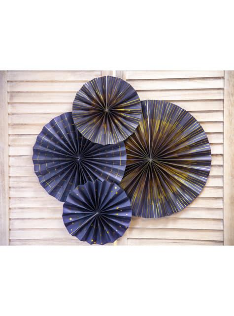 4 abanicos de papel decorativos azul marino