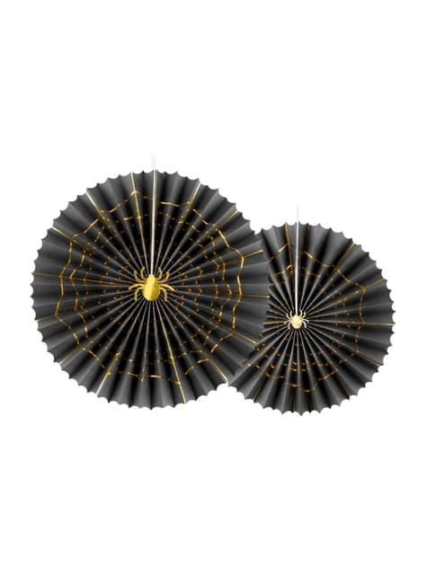 2 rosaces en papier noir avec araignée dorée (32-40 cm) - Trick or Treat Collection
