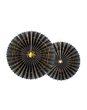 2 czarne papierowe wachlarze dekoracyjne ze złotym pająkiem - Trick or Treat Collection