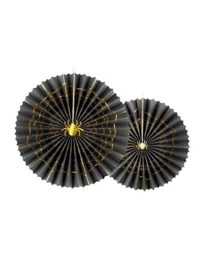 2 koristeellista paperiviuhkaa mustana kultaisella hämähäkillä - Trick or Treat Collection
