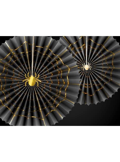2 festoni a forma di ventaglio decorativo di carta neri con ragni dorati (32-40 cm) - Trick or Treat Collection
