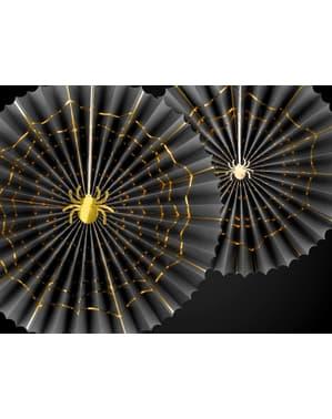 2 decoratieve waaiers in het zwart met een gouden spi (32-40 cm) - Trick or Treat Collection